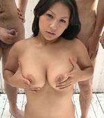 Kinky Japanese bukake porn featuring Chiharu