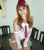 Thai girl Por in her sexy stockings outfit