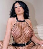 Busty Asian Milf Kiko Lee in fishnet stockings