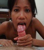 Slutty Pinay Mayka sucking a big white cock