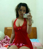 Sweet Chinese girlfriend in sexy red lingerie