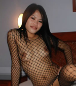 Slutty Filipina girl in kinky fish net stocking suit