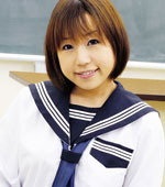 Japanese schoolgirl with clean shaven pussy