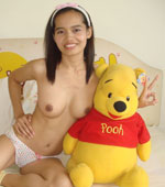 Lana Lee getting naked with her toy Pooh