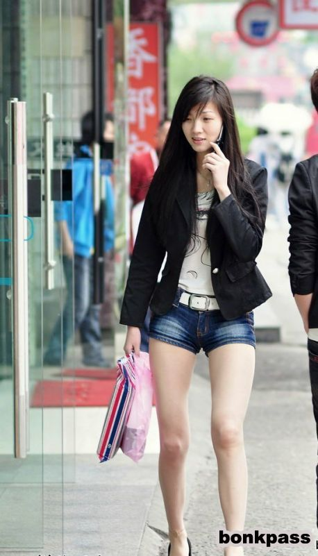Chinese Girl In Short Pants Walking Around Town  Asian -7491