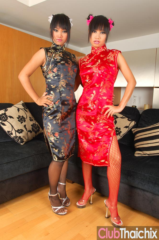 Two Thai Babes Sexy In Traditional Chinese Dress  Asian -9681